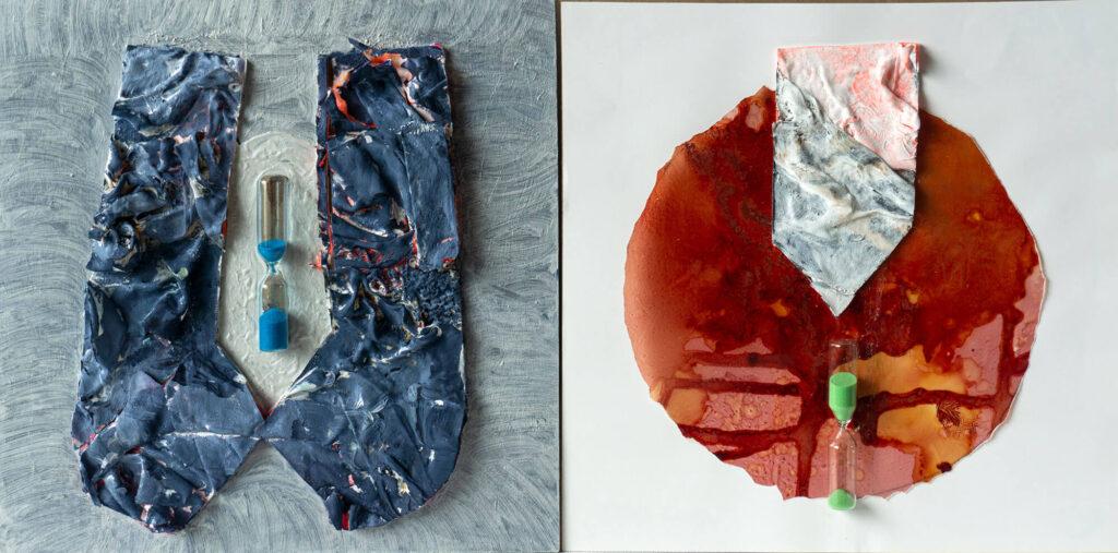 Lucie Plaschka, Zeitunterschied I, 30 x 30, Materialbilder, 2020