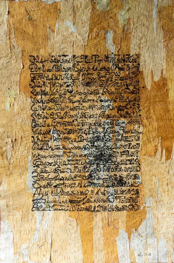Lucie Plaschka, Brief von der Birke, 120 x 85 cm, Tusche auf Rinde, 2016