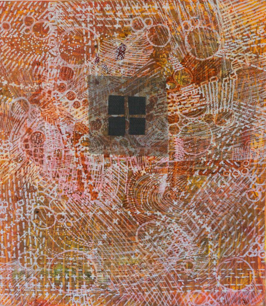 Lucie Plaschka, Vergittert, 60 x 50, Gitter, Leinwand, 2020