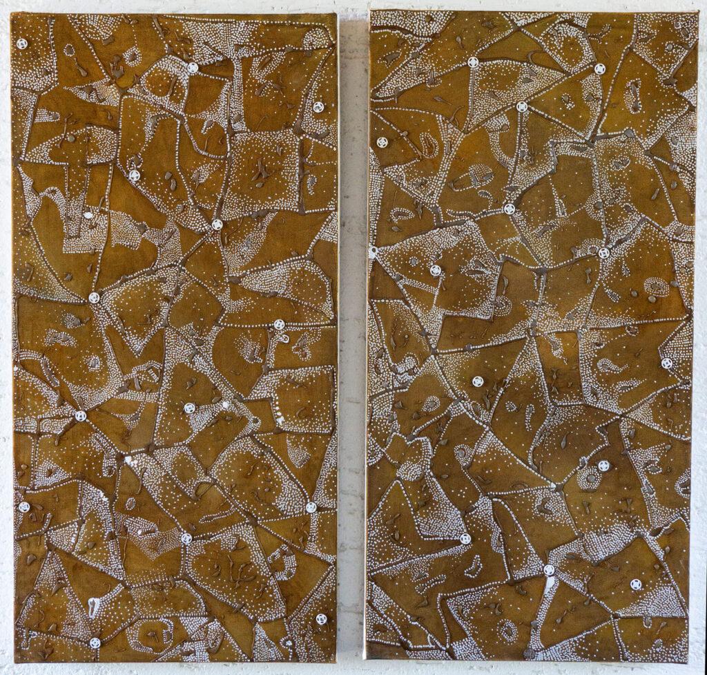 Lucie Plaschka, Virulent I und II, je 80 x 40, Rost auf Leinwand, 2020