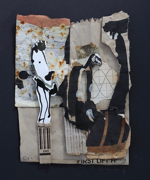 Christiane Leimklef, Zeremonie, Papier, Collage, 30 x 20 cm
